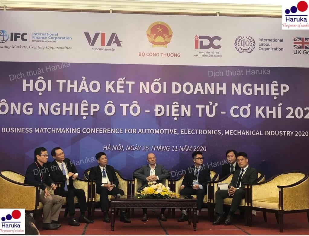 """Haruka cung cấp thành công phiên dịch thì thầm ngôn ngữ Nhật Việt tại Hà Nội cho buổi """"Hội thảo kết nối Doanh nghiệp Công nghiệp ô tô, điện tử, cơ khí năm 2020"""""""